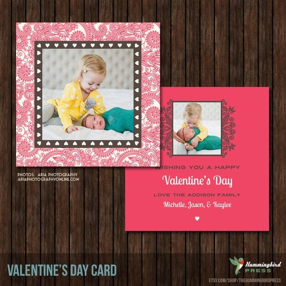 INSTANT Download 5x5 PSD Valentine's Card Template - V4