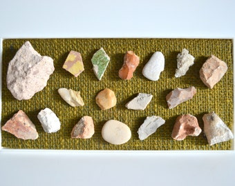 Vintage Holy Land Rock Collection! Mounted Stone and Pottery for Home Decor, a Shelf Piece Display or for  Travel to Rome, Catacombs & more!