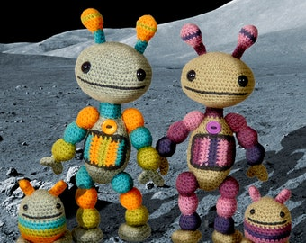 Nut and Bolt, Amigurumi Robots Crochet Pattern.