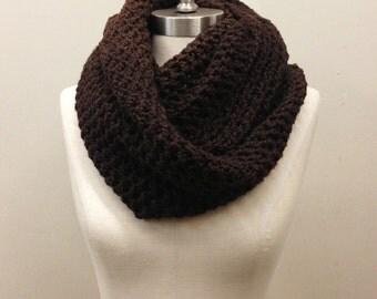 100% Organic Cotton // Dark Espresso Brown Crocheted Infinity Scarf