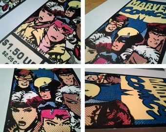 X-Men Pop Art handpulled silkscreen print bookmark