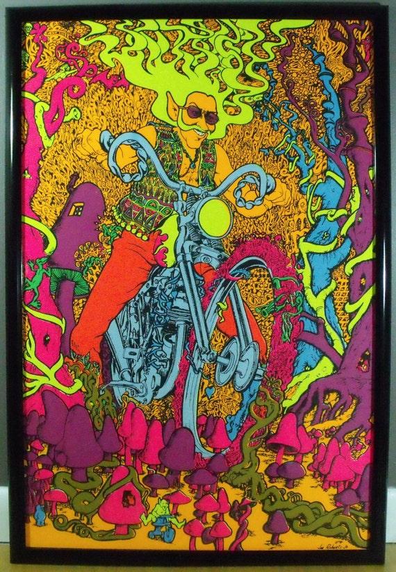 "Original 1970 Motorcycle ""Captain America"" Blacklight Poster Joe Roberts Jr."