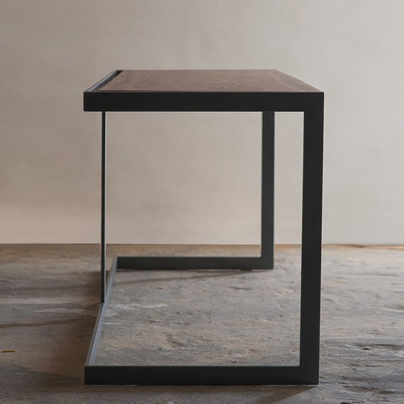 Items similar to suspended wood and metal desk modern for Metal desk with wood top
