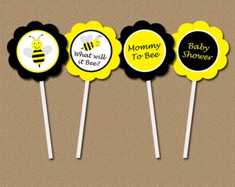 Baby Shower Bumble Bee Cupcake Toppers - DIY Printable 2 inch Party Circles - Yellow Black Gender Neutral - INSTANT DOWNLOAD