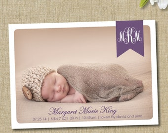 Monogram birth announcement. custom photo card. traditional monogram announcement