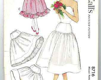 McCall's 8716 Vintage 50s Lovely Misses Petticoat , Crinoline, Contrast Yoke and Ruffle or Eyelet Embroidery Sewing Pattern Size 26 Waist