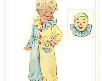 McCall 1548 Vintage 50s Amazing Toddler Girls or Boys Clown or Western Style Pajamas Sewing Pattern Size 2