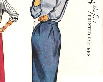McCall's 9516 Lovely Vintage 50s One Piece Slim Skirt with Inverted Front Hip Pleats Sewing Pattern Waist 28