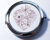 Pocket mirror, compact mirror, Heart compact mirror, mirror, Heart pocket mirror, heart, love, gift for bride, bridal shower (2740)