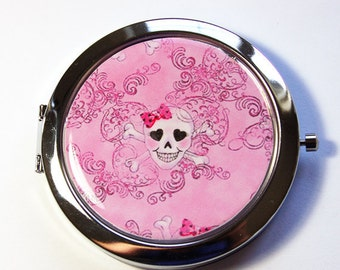 Sugar Skull Mirror, compact mirror, Sugar Skulls, mirror, purse mirror, Pocket mirror, Pink Mirror, Pink Skull  (2911)