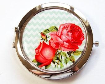 Flower compact mirror, Flower Mirror, mirror, floral, Floral mirror, Pocket mirror, Flower pocket mirror, Chevron, Roses (2940)