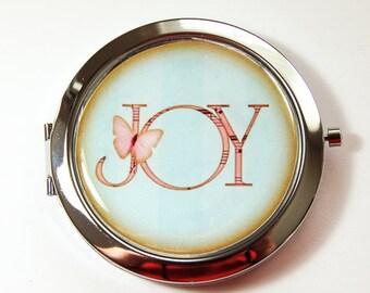 Compact mirror, Pocket mirror, Joy, mirror, Mirror for purse, Inspirational, Blue mirror, blue compact mirror (2995)