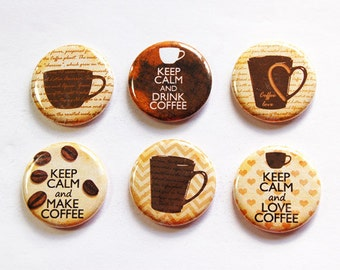 Coffee Magnets, Coffee Lover, Keep Calm Drink Coffee, Button magnets, Kitchen Magnet,Fridge Magnet,Stocking Stuffer,Coffee Lover gift (3276)