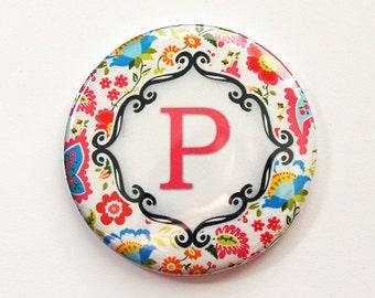Monogram Pocket mirror, monogram, Flower, Floral, mirror, purse mirror, custom pocket mirror, bridal shower favor, bridesmaid gift (3507)