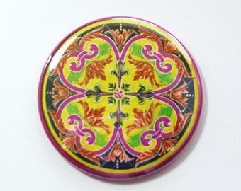 Pocket mirror, mirror for purse, mirror, purse mirror, abstract design, tile design, gift for her, party favor, Kellys Magnets (3827)