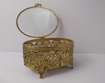 Beveled Beauty - Large Vintage Gold Filigree Ormolu Cushioned Trinket Jewelry Vanity Footed Casket Hinged Box Ornate French Chic - Glass Lid