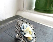Cameo style floral butterfly ring