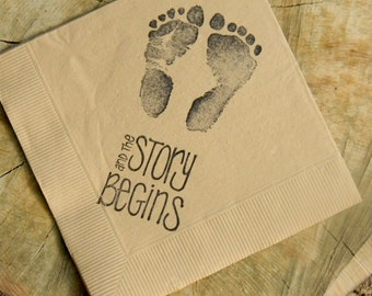 The Story Begins Baby Shower Footprints Light Burlap Cocktail Napkins  Gender Neutral Baby Girl Or Baby