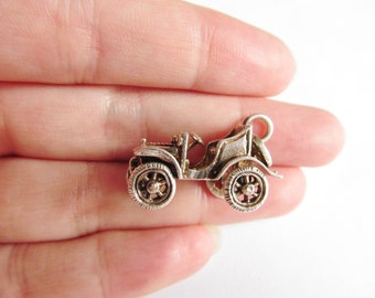 Vintage Silver Moving Car Charm - Large 1920's Veteran Car Pendant