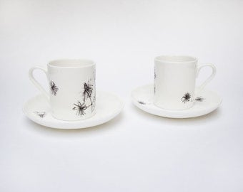 Traveller's Joy Espresso Cups And Saucer Set   Summer Garden   Floral   Bontanical   Coffee Set   Coffee Lover   House Warming Gift