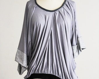 Grey Drape Top, Asymmetrical Gray Blouse, Pleated Lagenlook Edgy Shirt S, M