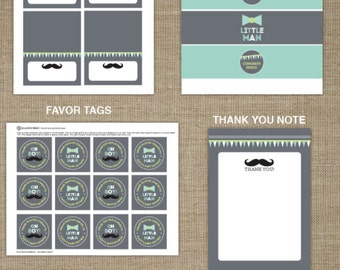 Little Man Baby Shower Printable Party Bundle - Mustache Printable Party - Boy Baby Shower Decorations - Bow tie printable - Baby Sprinkle