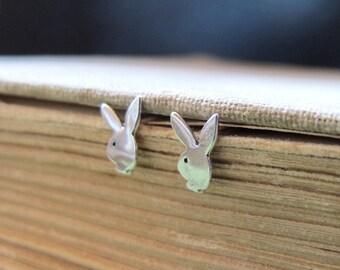 Rabbit Stud Earrings. Sterling Silver Bunny Earrings. Gift for her. Playboy Earrings. Delicate Jewelry / Bunny Studs / Rabbit Earrings