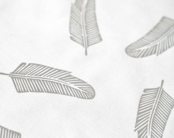 Quill in Pale Grey : organic cotton handprinted fabric panel