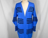 vintage 1980s striped cardigan sweater / size small