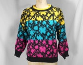 vintage 1980s novelty print sweater / size large