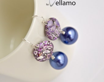 Purple stone earrings with mosaic purple turquoise gemstones, round, with Swarovski crystal pearls