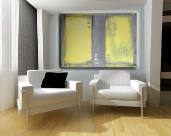living room decor yellow painting abstract art gray and yellow large wall art home and living wall decor by cheryl wasilow