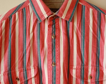 90s Eddie Bauer Red Bold Stripe Button Up Shirt Mens Large