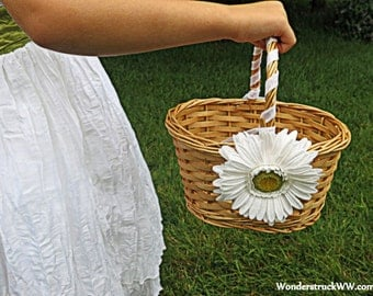 CLEARANCE - Flower Girl Basket - Wedding Flower Girl Basket - Oval Basket with White Daisy and Iridescent White Ribbon