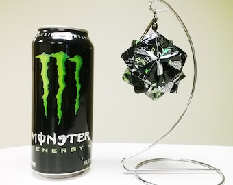 Monster Energy Drink Ornament // Origami // Upcycled Recycled Repurposed Art // Easter // weird gifts