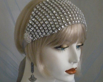 1920's Headpiece, Flapper Headband, silver, Gatsby, Old Hollywood, Bandeau, READY TO SHIP Bohemian, Downton Abbey, ribbon, Rhinestones no.99