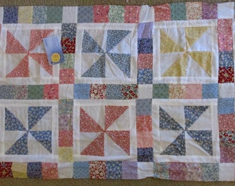 Antique Replica Pieced Table Runner Quilt Top