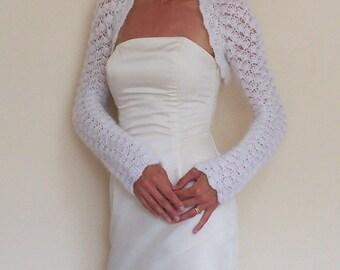 Wedding Shrug Bridal bolero hand crochet from white mohair