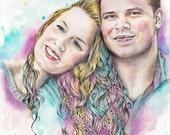 Original custom color family portrait, mixed technique, watercolors, color pencils, drawing from photo, illustration, FREE Digital format