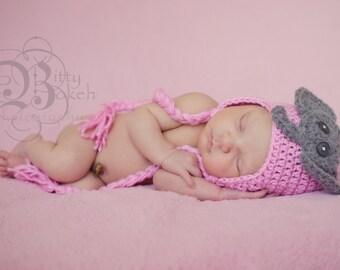 Crochet Baby Hat, Newborn Elephant Hat, Newborn Photo Prop, Baby accessories