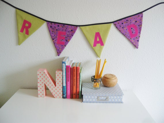 School decoration, Classroom decor, Back to school, Fabric banner, Bunting banner, Green, purple