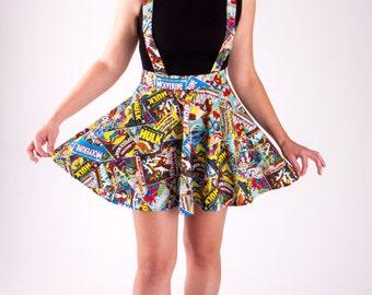 Suspenders Marvel Comic Book Circle Skirt