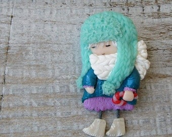Brooch Little girl with lollipop, Cute Gift, Little girl brooch, Polymer clay, Art doll brooch Winter brooch girl in hat