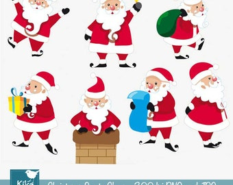Santa Claus - Digital Clipart Scrapbooking - card design, invitations, stickers, paper crafts, web design - INSTANT DOWNLOAD