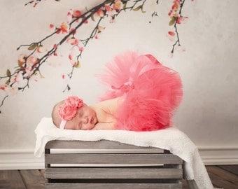 CORAL TUTU and Headband, Size Newborn, Newborn Tutu, Baby Tutu, Infant Tutu, Newborn Photography Prop, Photo Prop, Coral Tutu, Tutu Coral
