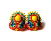 Soutache rainbow stud earrings handmade post earrings embroidered red green orange everyday earrings TOHO oaak gift for her under 50 - SaboDesign