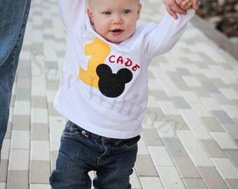 Mickey or Minnie birthday shirt or bodysuit- Disney shirt or bodysuit- Boy Birthday Applique Shirt- Birthday Vacation shirt- First Birthday