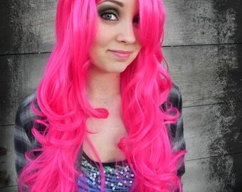 HALLOWEEN SALE / Neon Hot Pink / Long Curly Layered Wig with Natural Scalp Piece