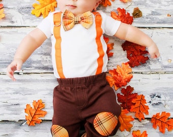 New Baby Boy Tie Bodysuit with Suspenders and Bowtie.  Harvest Plaid.  Fall Photo Prop, Christmas Pictures