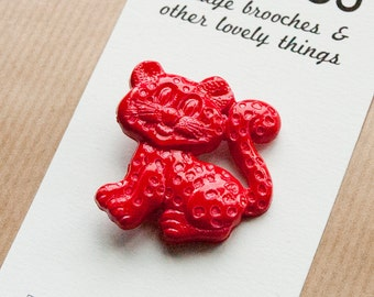 Red Cat Brooch Plastic Pin